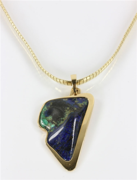 14K Gold Necklace with Polished Stone Pendant