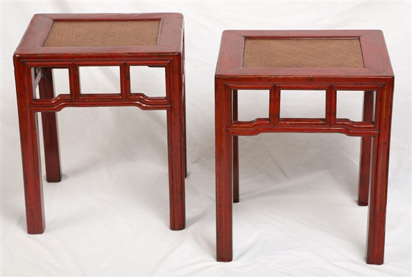 Pr. Chinese Red Lacquered Rattan Seats