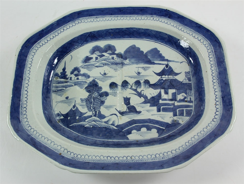 19th C. Chinese Blue and White Porcelain Platter