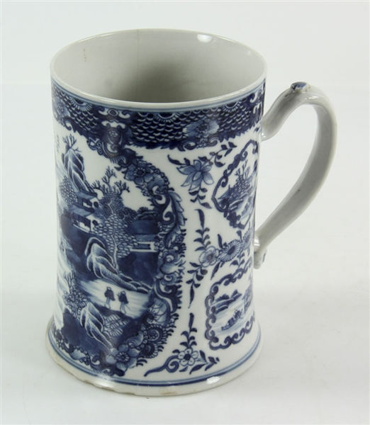 Three Chinese Blue and White Porcelain Mugs