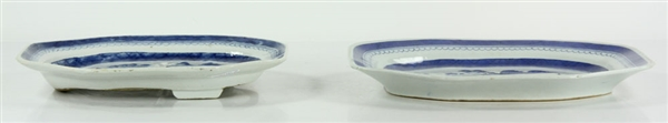 Two Chinese Canton Blue and White Platters
