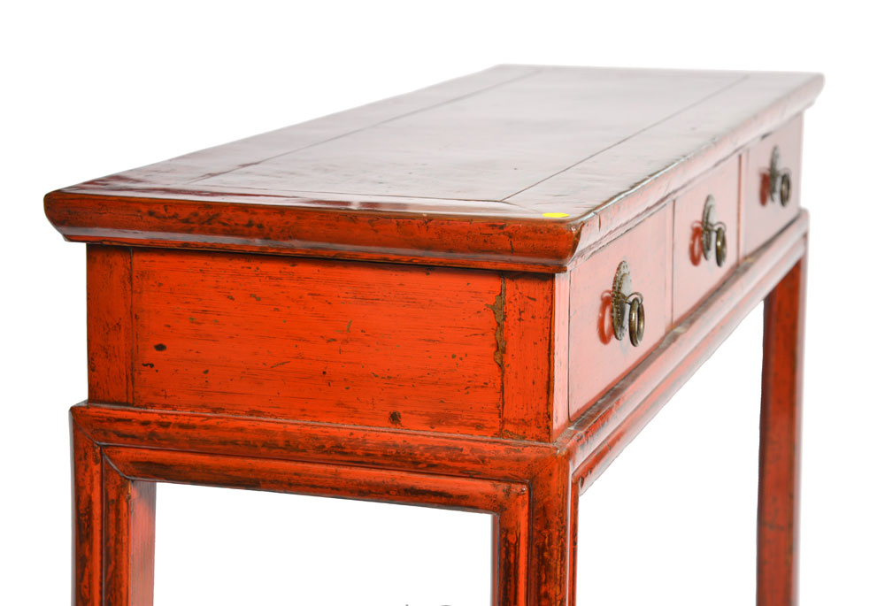 Chinese Red Lacquered Desk