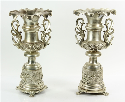 Pr. 19th C. French Silvered Bronze Candlesticks