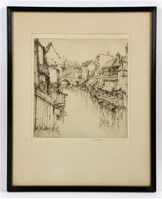 "Roth, ""The Little Bridge, Chartres,"" Etching"