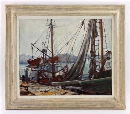"Smith, ""Boat in Harbor,"" Oil on Canvas"