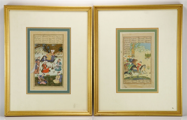 Pair of 18th/19th C. Persian Illuminated Page Paintings