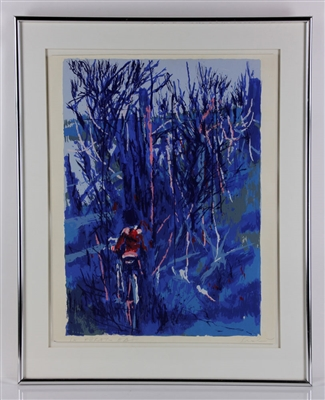 "Simbari, ""Boy on a Bike in Blue,"" Silkscreen"