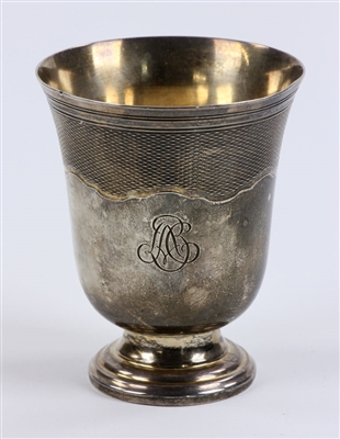 Engraved French Silver Cup