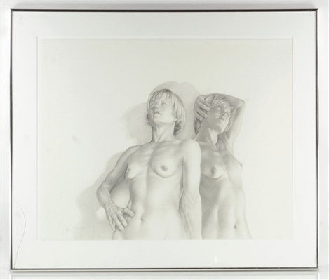 Schneider, Two Nude Females, Pencil Drawing