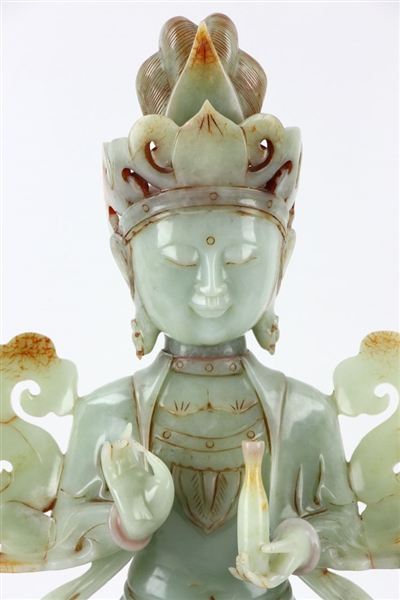 Chinese Carved Jade Guanyin Figure