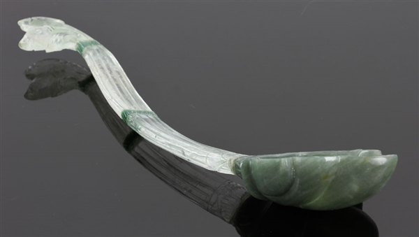 Mughal Carved Jade and Rock Crystal Spoon/Ladle