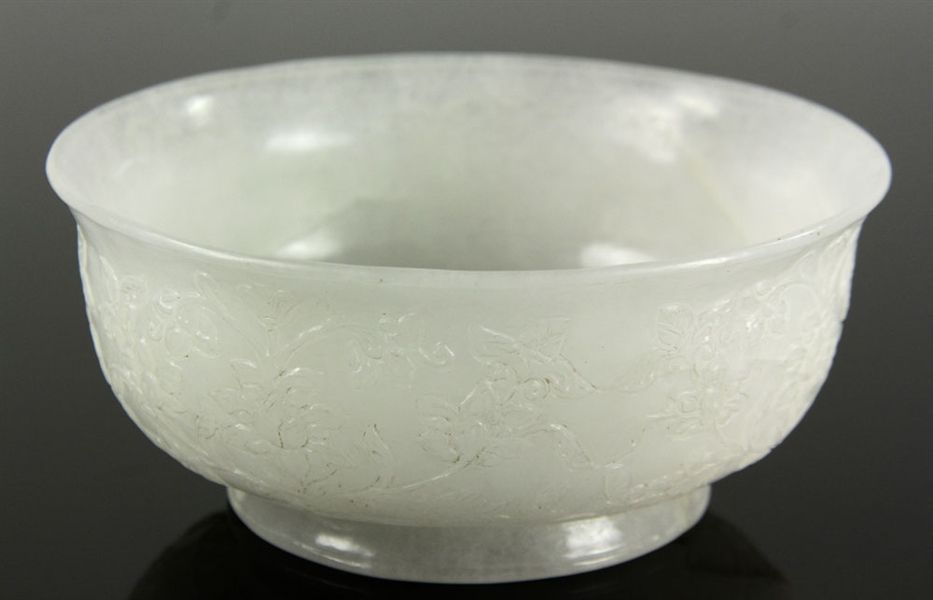 Finely Carved White Jade Bowl