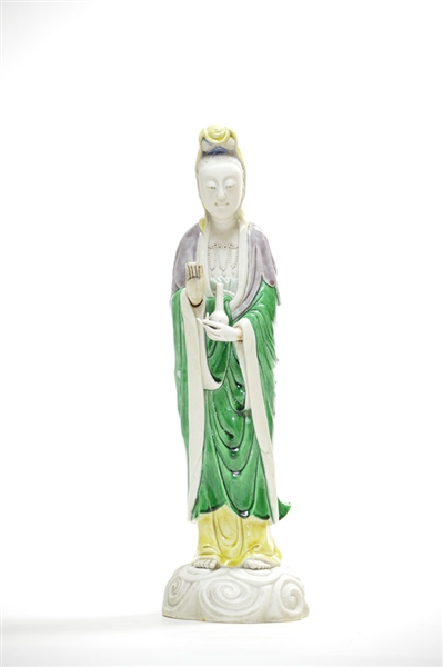 Chinese Famille Noire Figure of Guanyin