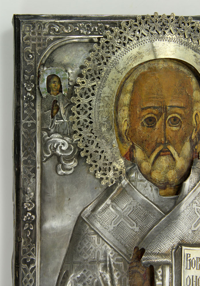 Antique Russian 84 Silver Icon Of St.nicholas Christianity Non-u.s. Silver