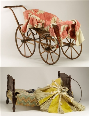Doll Carriage and Bed