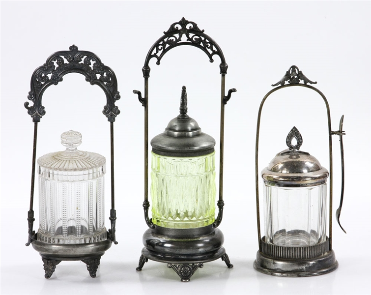 Late 19th to Early 20th C. Pickle Jars and Cruet Sets