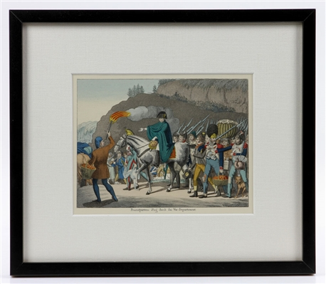 """Napoleon Marching Through the War,"" Etching"