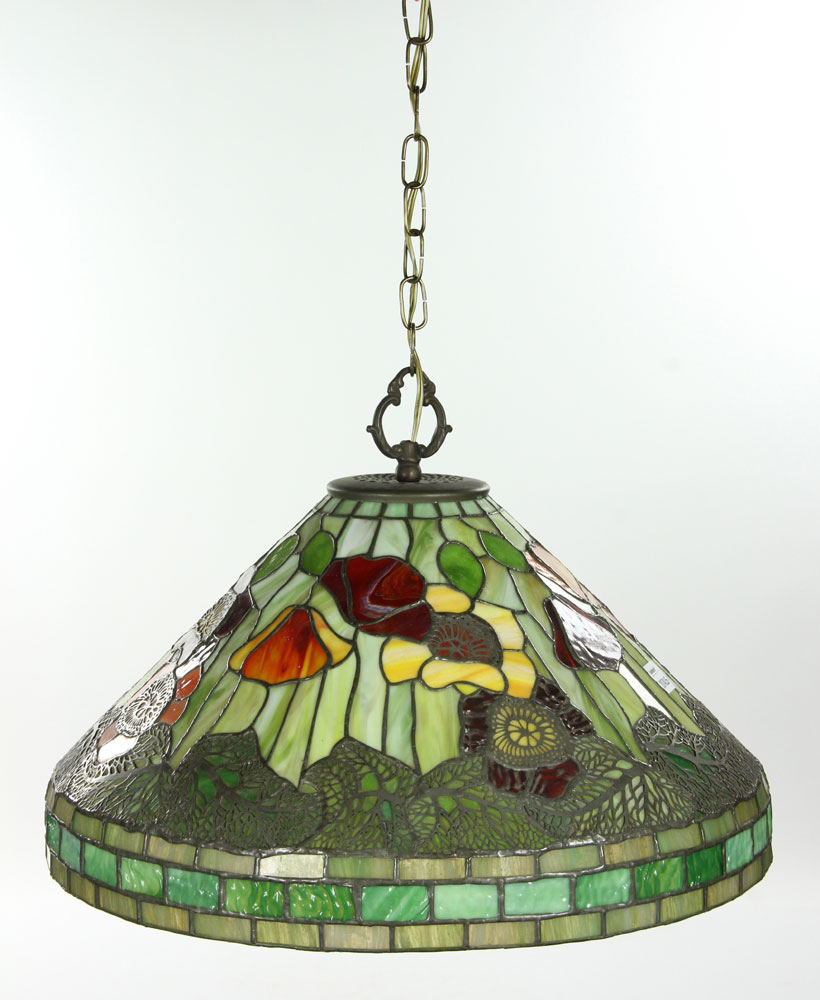 Lot Detail Tiffany Style Stained Glass Hanging Lamp Shade