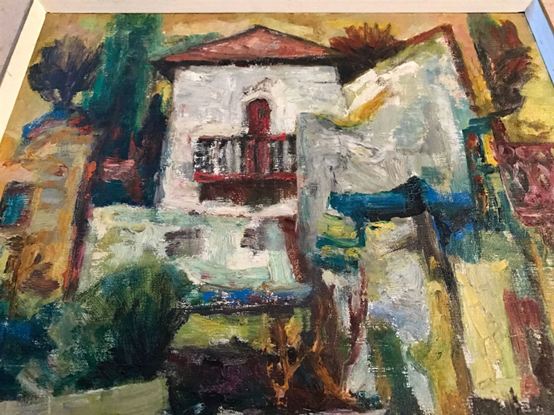 Attr. Rodan, Abstract House with Figures, Oil on Canvas