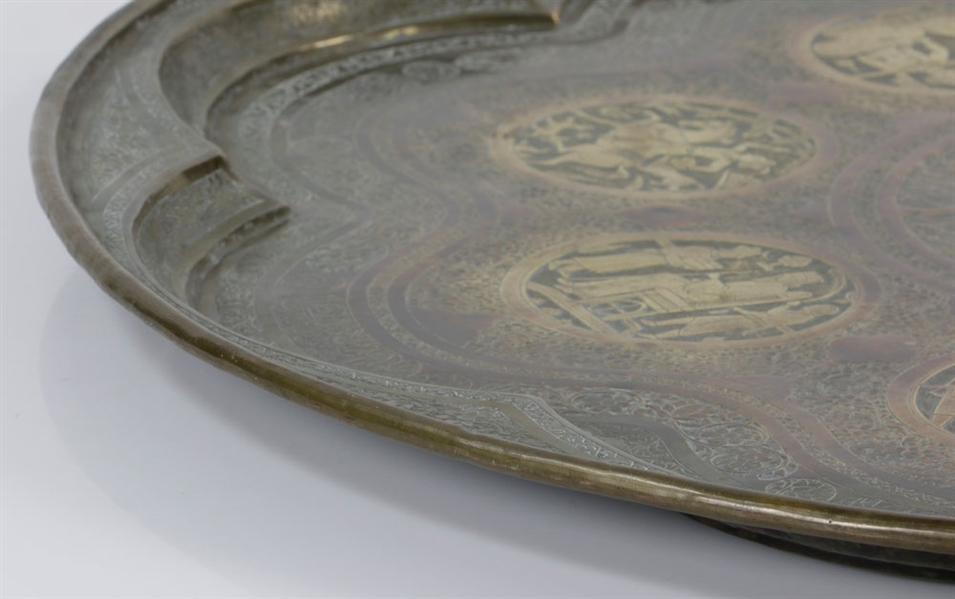 Antique Hand Brass Engraved Tray