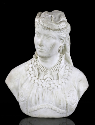 19th C. Orientalist Marble Bust of A Young Girl