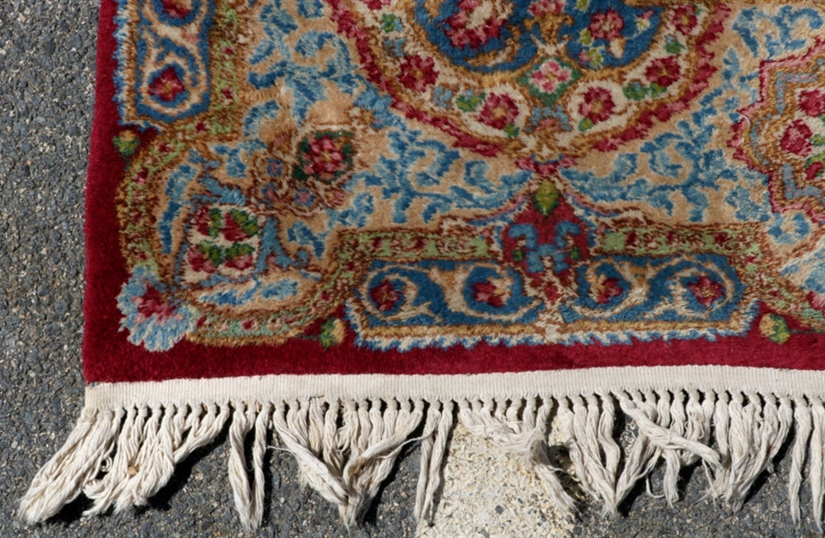 Antique Kerman Blue Medallion Carpet