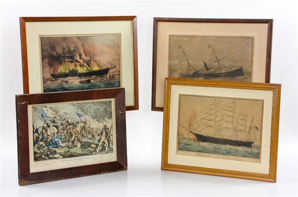 Four 19th C. Currier & Ives Colored Lithographs