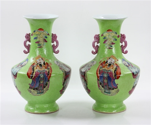 Pr. Chinese Lime Green Porcelain Vases