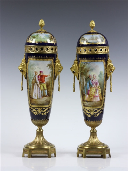 Lot Detail Pair Of Cobalt Sevres Porcelain Vases
