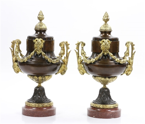 Pair of French Bronze Ormolu Urns