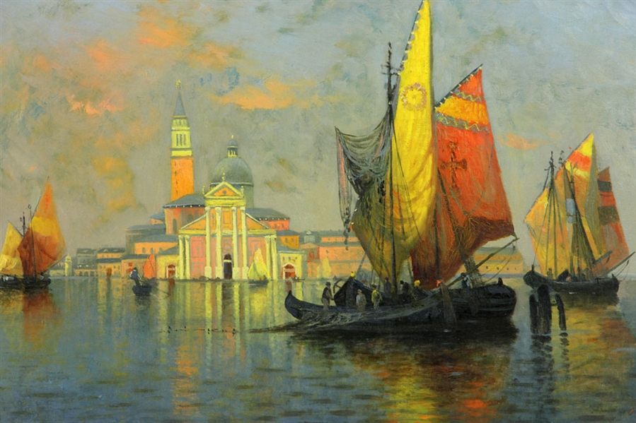 Lagoni, View of Venice, Oil on Canvas