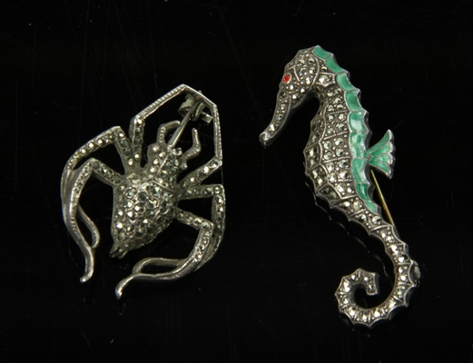 2 Sterling Silver Figural Brooches