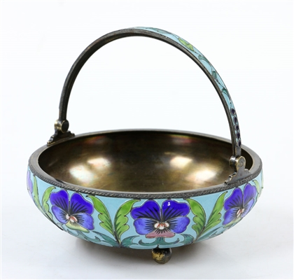 Russian Silver Enameled Floral Basket