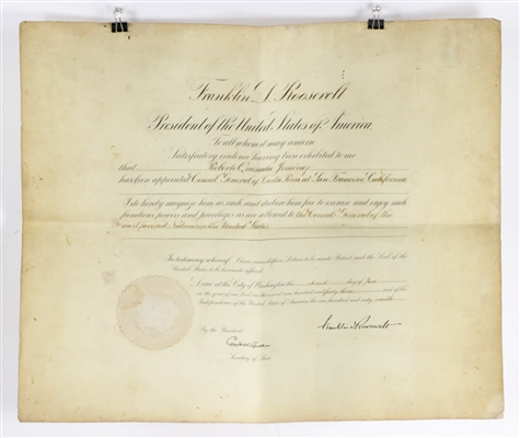Document Signed by U. S. President Franklin D. Roosevelt
