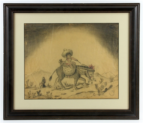 Trutzschler, Child with Donkey, Pencil Drawing