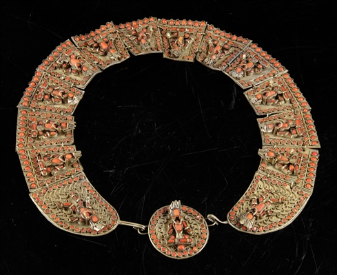 Antique Asian Coral and Gilt Metal Necklace