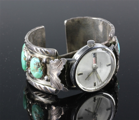Vintage Mens Sterling Silver and Turquoise Watch