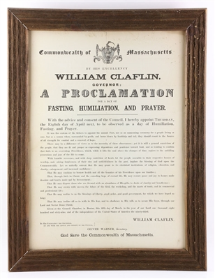 19th C. Governor Clafin Proclamation