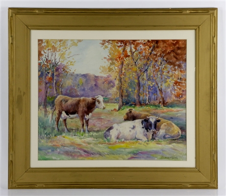 Cook, Cows in Autumn Field, Watercolor