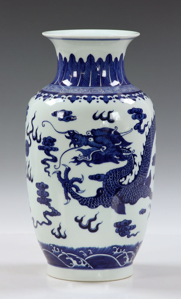 Lot Detail Chinese Blue And White Dragon Vase