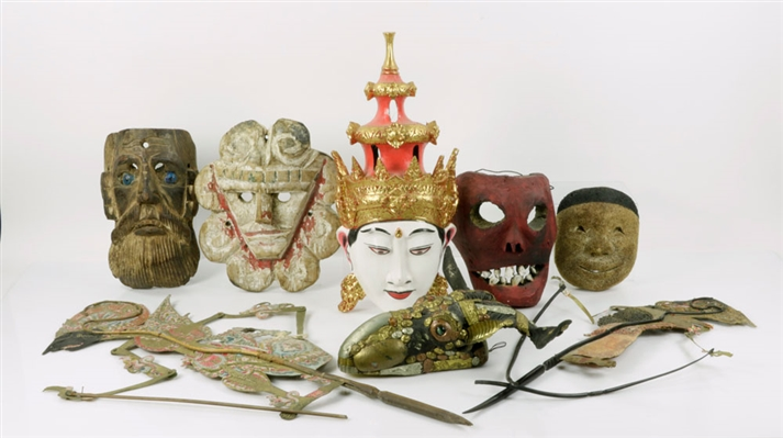 Eight Asian Puppets and Masks