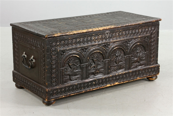 Early American Carved Wood Chest