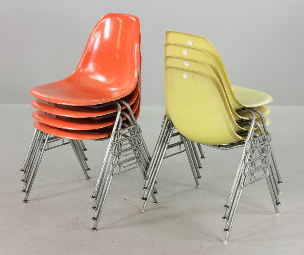 ... Set Of Eight Eames For Herman Miller Stackable Chairs ...