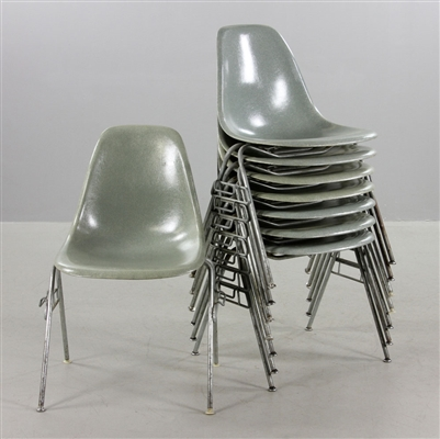 Set of Eight Eames for Herman Miller Stackable Chairs