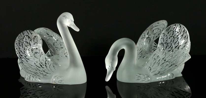 Two Lalique Glass Swans