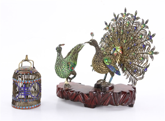 Chinese Enameled Silver Peacock
