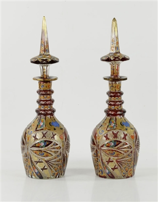 Pair of Persian Glass Decanters