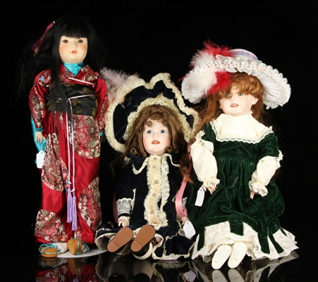 Lot of Three China Dolls