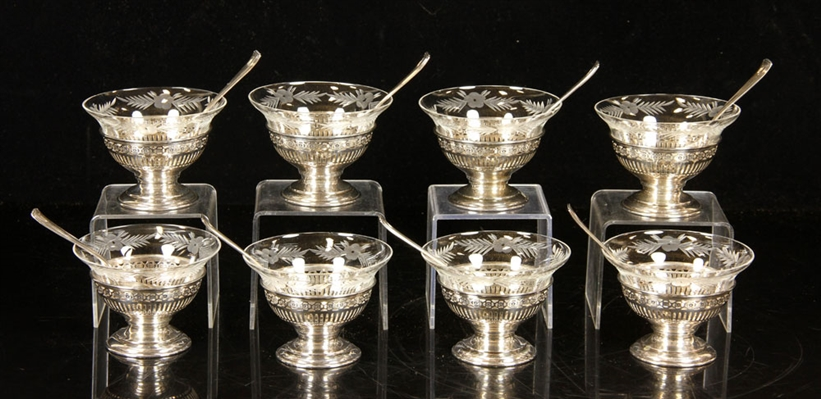 Sterling Silver and Crystal Dessert Set
