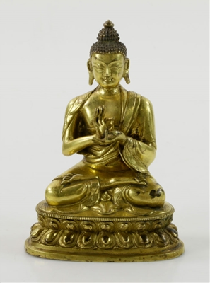 Chinese Gilded Lotus Seated Buddha